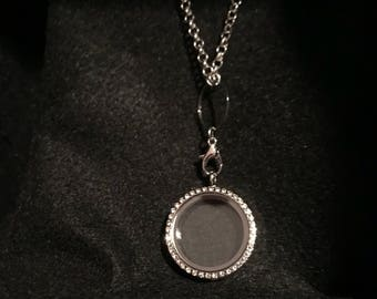 Silver finish living locket necklace