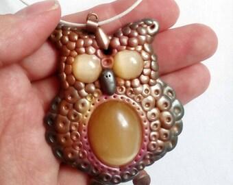 Owl necklace Selenite jewellery Selenite Necklace polymer clay owl Selenite jewellery satin spar handmade owl polymer clay jewelry unique