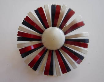 Vintage Enamel Red White Blue Flower Brooch Pin Mod