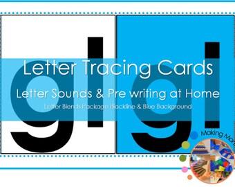 Montessori Blend Sandpaper Letter Tracing Cards
