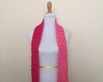 Handmade Crochet Winter Scarf Thin Pink Striped Wool Blend