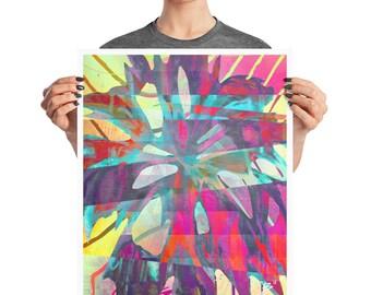Tropical Glitch Palm Tree Poster, 8x10, 16x20, Boho Decor, Abstract Print