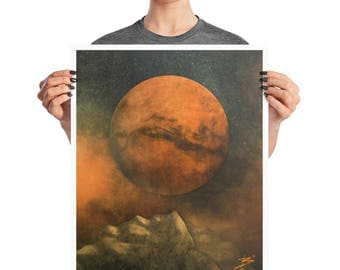 Mars Horizon Surreal Space Art Poster, 8x10, 16X20, Abstract Modern Print