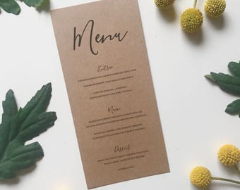 Modern Rustic Wedding Menu -  Kraft Brown Calligraphy Wedding Menu - Wedding Reception Decor