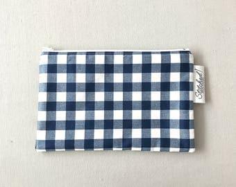 Blue Gingham Zipper Pouch