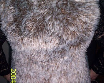 Women vest knitted wool faux fur soft 38/40