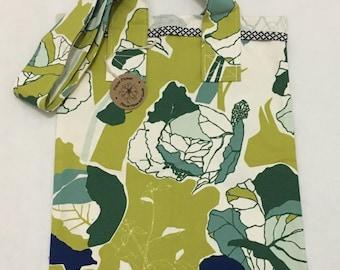 Handmade green tote bag