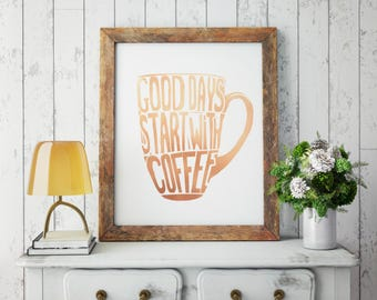Coffee! Everything starts with Coffee! Coffee Artwork, Coffee Wall Art, Coffee Mug Art, Coffee Cup Wall Art, Coffee Typography