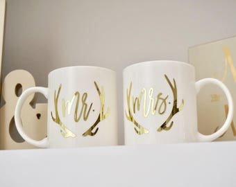 Mr. + Mrs. Personalized Coffee Mugs w/ Deer Antlers | Couples Engagement Gift | Wedding Gift | His and Hers | Coffee Cups