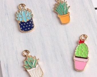 10pcs/lot Cute Golden Cactus flower Charms Pendant Jewelry,Oil Succulent Plants Potted Cactus Charms Diy Accessories
