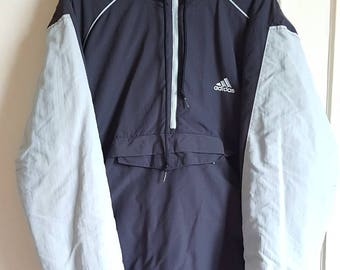 Fleece lined Hoodie / Sweatshirt Half Zip Adidas Vintage early 00 size L.