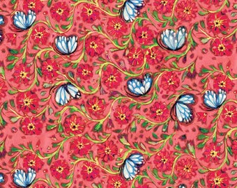 Pink Butterflies Painted Summer by Linda Enche patchwork fabric
