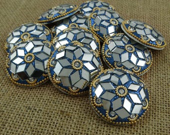 Decorative Glitter Mirror Buttons, Indian Dress Buttons, 12 Pieces Round Shape Buttons, Sewing Crafts Accessories, BTN294E