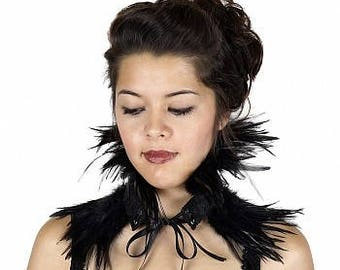 Feather Choker with Lace Details