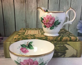 Camellia Queen Anne Sugar Creamer Set Vintage Fine Bone China Porcelain High Afternoon Tea Table Pink Green White Gold
