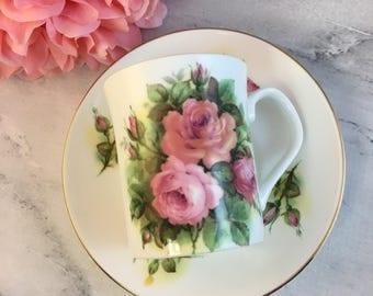 Pink Roses Elizabethan Teacup and Saucer Set Gold Fine Bone China Vintage England Made Lovely