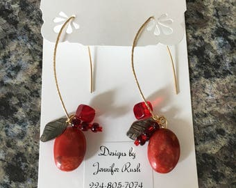 Unique Beaded Charm Earrings with Natural Stone