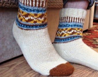 knitted socks, socks woolen, socks with jacquard, warm socks , knitted socks / socks woolen / socks with jacquard / warm socks