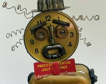 Assemblage Sculpture, Steampunk Whimsical Dude, Found Objects, Tin, Clock, Oil Can,Junk Art Decor