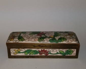 Antique Chinese Brass Enamel Cloisonne Box