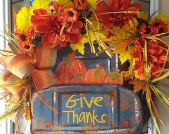 Fall wreath, fall door hanger,autumn  wreath,fall  wreath , Door wreath, , front door  wreath, harvest wreath, pumpkin wreath,truck wreath