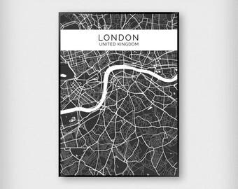 City Map Print - A4/A3 - Black and White - Monochrome/Poster/London/Paris/New York/Venice