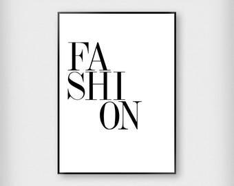 Fashion Letters Print | Fashion | Black - White | Monochrome - Typography - Poster