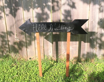 Directional Chalkboard Arrow Garden Stake Sign Wedding Sign