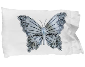 Silver Butterfly Macedonia Filigree - Pillow Case