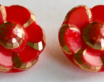 Red Opaque Glass Button