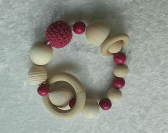 Wooden Baby Rattle natural Montessori inspiration