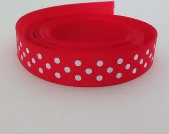 Ribbon red dots satin 10mm