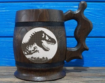 Jurassic World Beer Mug, Jurassic World Beer Stein, Custom Beer Mug, Gift for Gamer, Jurassic Park Tankard, Gift for Him