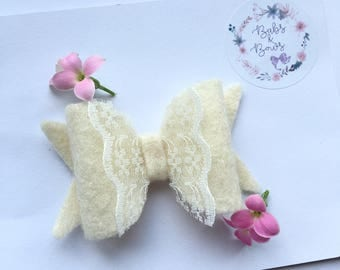 Vintage Lace Felt Bow - 12 Colours to Choose From!