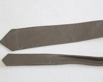 Leather Vintage Leather Skinny Necktie Grey Brown Leather Tie 1980's Authentic Old School Skinny Soft Leather Skinny Tie leather