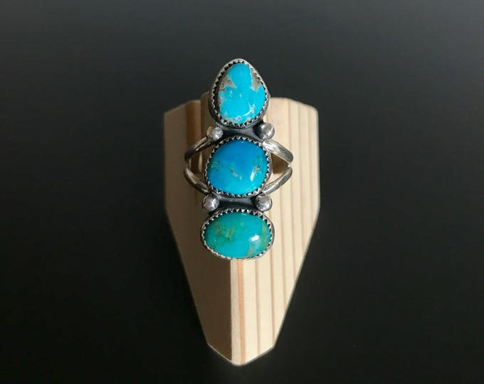 Multi Turquoise Sterling Silver Ring - Size 8.5