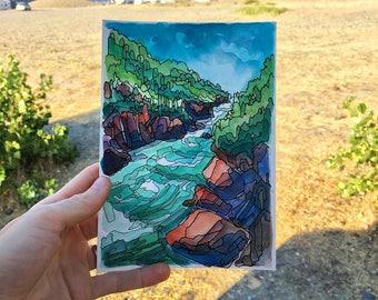 Deschutes River,ORIGINAL watercolor,landscape painting,Oregon,Bend,pacific northwest,adventure art,pen and ink,abstract art,blue,5x7,print