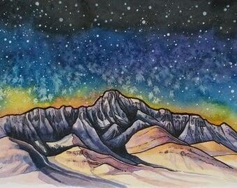 Steens Mountains,art print, mountain art,Oregon,Pacific Northwest,night sky,stars,watercolor painting,ink,wall art,digital print,blue,purple