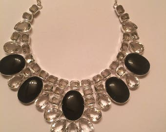 1,500ct Black Onyx & White Sapphire Princess Necklace