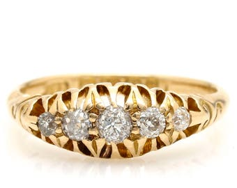 Victorian Five 5 Stone Diamond Ring