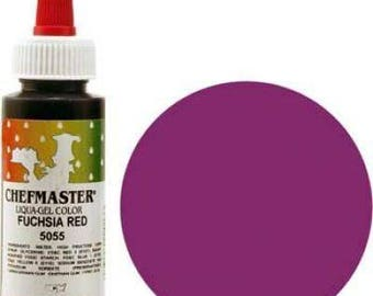 Chef Master Liquid Gel Color 2.3 oz for candy apples, chocolate, cakes, cupcakes, baked good, fuschia, royal blue, sky blue