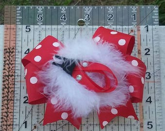 Red and white polka dot fuzzy ladybug hairbow