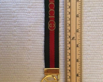Fashionable lanyard  or long key  fob striped red and green
