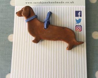 Hanging Dauchsund Sausage Dog Ceramic Decoration