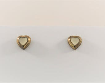 White and Gold Heart Stud Earrings