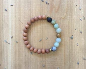 Essential Oil Diffuser Bracelet | Amazonite Beads | Sandalwood Beads | Black Lava Rock Bead | Yoga Bracelet