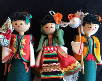 Three Vintage Wooden Dolls, Peg Dolls, Perfume Dolls, Trinket Boxes Dolls from Bulgaria, Plus a Wooden Figurine - 1990