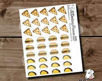 Pizza, Burger and Taco Planner Stickers (Original & Hand Drawn Design)