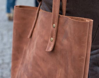 Shopper leder women, Leather handbag, Tote bag, Women bag, Laptop bag, Women computer bag, Brown leather bag