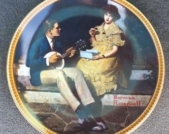 """Vintage Norman Rockwell Plate """"Pondering On The Porch"""" Limited Edition  ROCKWELL'S REDISCOVERED WOMAN"""